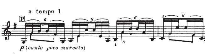 sextuplets in sarabande, at 'a tempo' indication