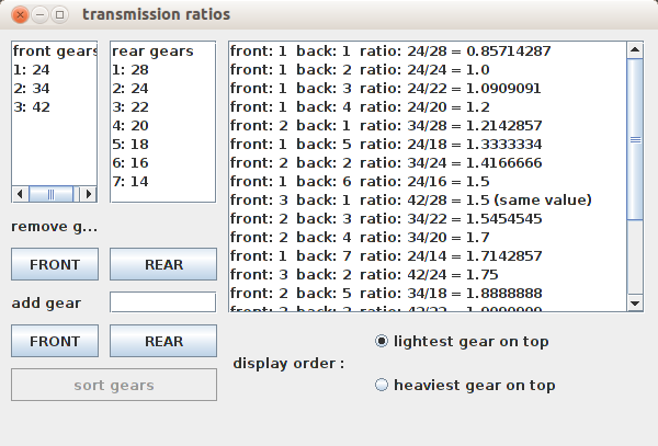 screenshot of bicycle gear calculator